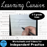 Learning Cursive practice pages with video links (2nd and 3rd grade lines)