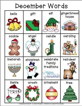 Learning December Words K-4
