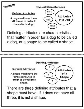 Defining and Non-Defining Attributes of a Shape Book