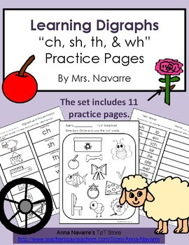 """Learning Digraphs """"ch, sh, th, & wh"""" Practice Pages"""