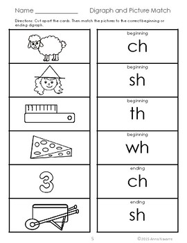 "Learning Digraphs ""ch, sh, th, & wh"" Practice Pages"