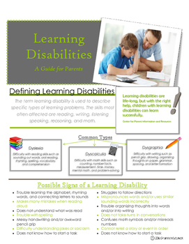 Learning Disabilities Parent Handout