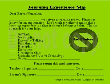 Learning Experience Classroom Behavior Documentation Cards