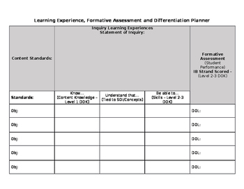 Learning Experience Planner Template