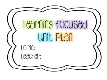 Learning Focused Lesson Plan Template