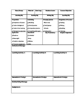 Learning Focused/SIOP Lesson Plan Template For ESL Teachers