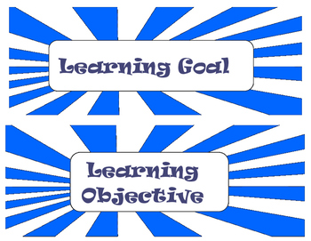 Learning Goal & Objective Signs