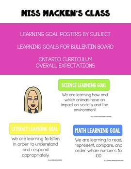 Learning Goal Posters - Ontario Curriculum Grade 2 Math! Editable