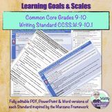 Learning Goal & Scale for Grade 9-10 Common Core Writing S