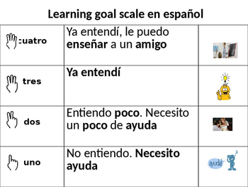 Learning Goal Scale in Spanish
