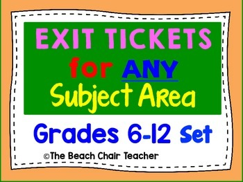 Exit Ticket for ANY Subject Area - Great for Observations 6-12 (& Marzano)