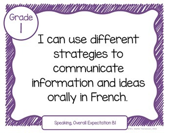 """Learning Goals FRENCH IMMERSION Grade 1 """"I Can"""" Statements (Ontario)"""