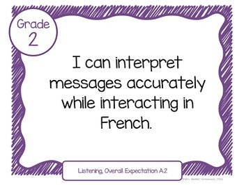 "Learning Goals FRENCH IMMERSION Grade 2 ""I Can"" Statements (Ontario)"