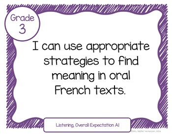 """Learning Goals FRENCH IMMERSION Grade 3 """"I Can"""" Statements (Ontario)"""