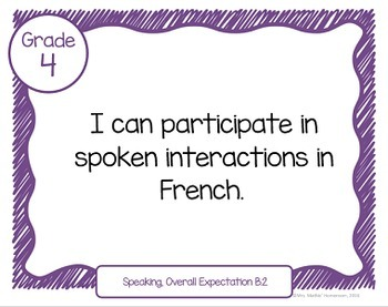 "Learning Goals FRENCH IMMERSION Grade 4 ""I Can"" Statements (Ontario)"
