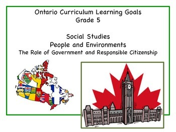 Learning Goals - Grade 5 - Social Studies - People and the Environment