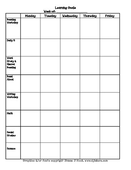 Learning Goals Lesson Plan Template