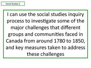 Learning Goals - Ontario Grade 3 Social Studies - Communities in Canada