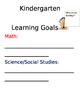 Learning Goals Poster Kindergarten
