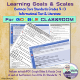 Learning Goals & Scales Common Core RI & RL Standards for