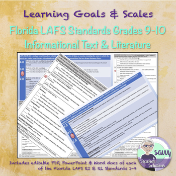 Learning Goals & Scales for Florida LAFS RI & RL Standards Grades 9-10 BUNDLE