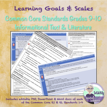Learning Goals & Scales for Grades 9-10 Common Core RI & RL Standards BUNDLE