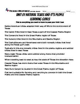 Learning Goals Unit 01 Natural Texas and It's People