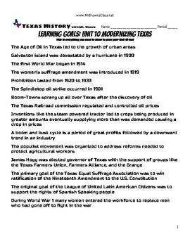 Learning Goals Unit 10 Modernizing Texas