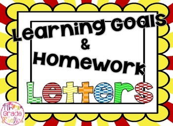 Learning Goals and Homework Headers + Subject Cards - Primary