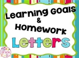 Learning Goals and Homework Letters + Subject Cards - Pink