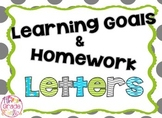 Learning Goals and Homework Letters and Subject Cards - Li