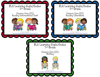 Learning Goals and Scales - 1st Grade ELA - Bundle for Common Core (2 Sizes)