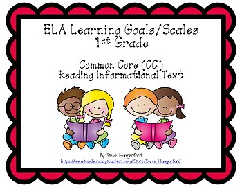 Learning Goals and Scales - 1st Grade ELA - RI for Common Core (2 Sizes)