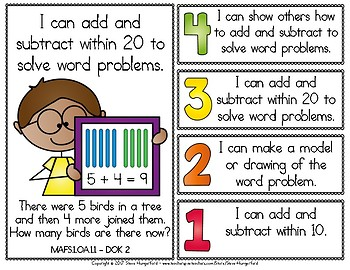 Learning Goals and Scales - 1st Grade Math - OA for Florida (2 Sizes)