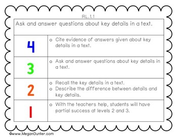 Learning Goals and Scales {1st Grade Reading}