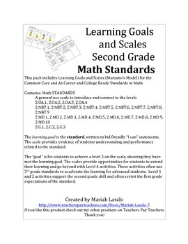 Learning Goals and Scales Math for Second Grade