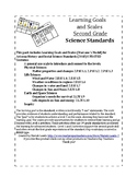 Learning Goals and Scales Second Grade Science UPDATED