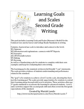 Learning Goals and Scales Writing for Second Grade