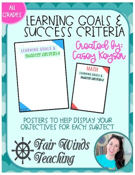 Learning Goals and Success Criteria Poster