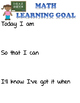 Learning Goals for Reading and Math for I can statements o