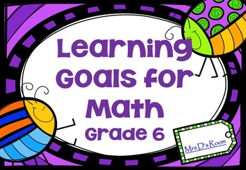 Learning Goals in Math - Grade 6