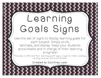 Learning Goals/Objectives Signs