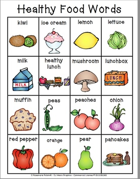 Learning Healthy Food Words K-4