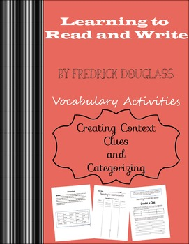 """""""Learning How To Read and Write"""" By Fredrick Douglass Vocabulary"""