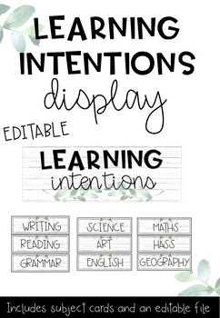 Learning Intentions and Success Criteria Display Board