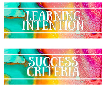 Learning Intention/Success Criteria/ WALT/ WILF signs