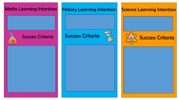 Learning Intention and Success Criteria Banner Maths, Science and History.