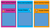 Learning Intention and Success Criteria Banner Maths, Scie