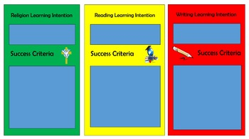 Learning Intention and Success Criteria Banner Religion, Reading and Writing