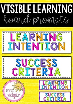 Learning Intention and Success Criteria Cards